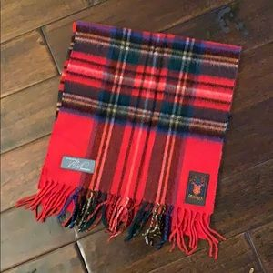 Classic Red Plaid Cashmere scarf made in W Germany